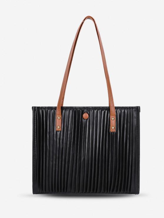 Dünne Gurt Plissee Lässiger Einkaufstasche - Schwarz