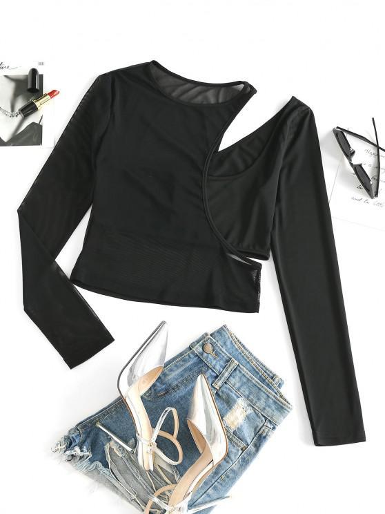online ZAFUL Mesh Sheer Cutout Long Sleeve Tee - BLACK S