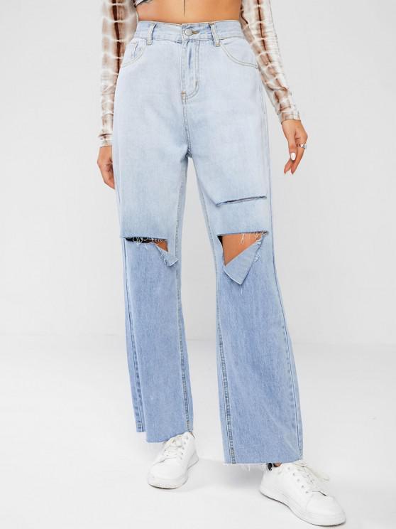Baggy Ripped Light Wash Boyfriend Jeans - أزرق فاتح S