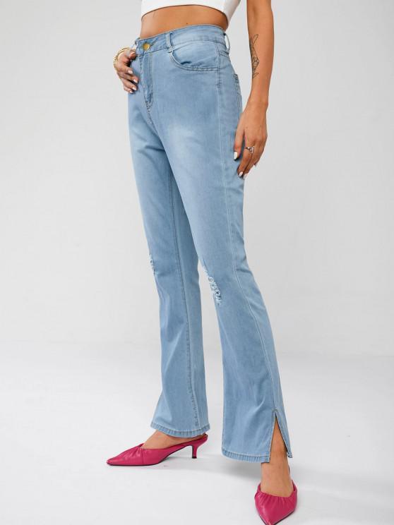 Ripped Distressed Split Hem Flare Jeans - أزرق فاتح S