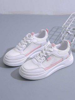 Colorblock Lace-Up Mesh Flat Sneakers - Light Pink Eu 39