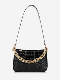 Minimalistic Chunky Chain Embossed Shoulder Bag - Black