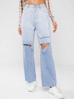 Jeans Rasgado Y Deslavado - Azul Claro L