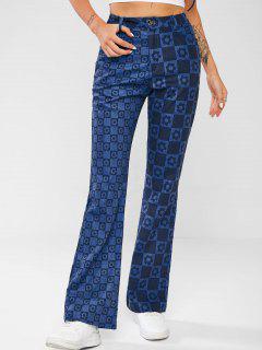 Jeans De Botas Con Pinturas De Tablas Florales - Azul Profundo M