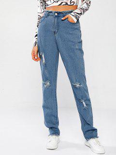 Jeans Flacos Ondulados De Motorista - Azul Claro L