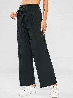Pantalones De Pierna Ancha - Negro
