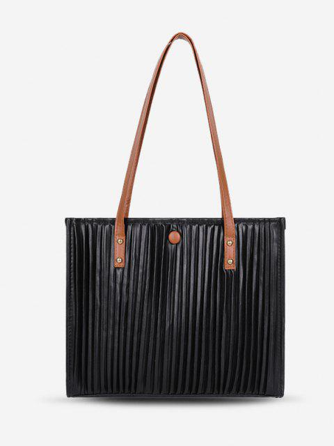 Dünne Gurt Plissee Lässiger Einkaufstasche - Schwarz  Mobile