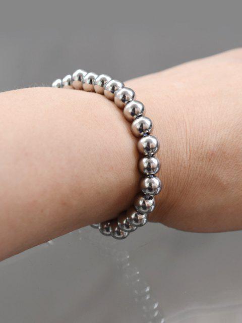 Perlen Edelstahl Elastisches Armband - Silber  Mobile