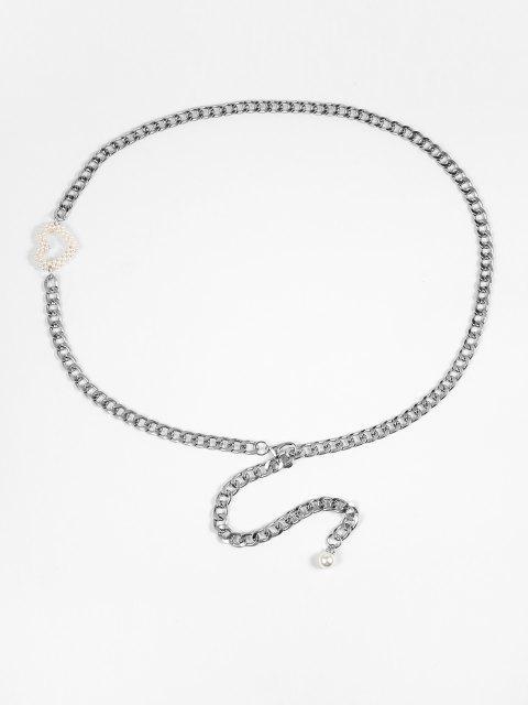 Herz Künstliche Perlen Taille Kette - Platin  Mobile