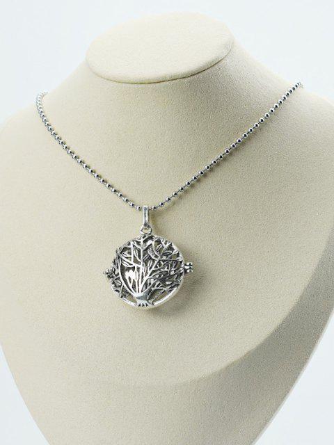 Hohle Baummuster Medaillon Halskette - Silber  Mobile