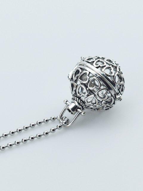 Collar Hueco con Diseño de Bola de Locket - Plata  Mobile