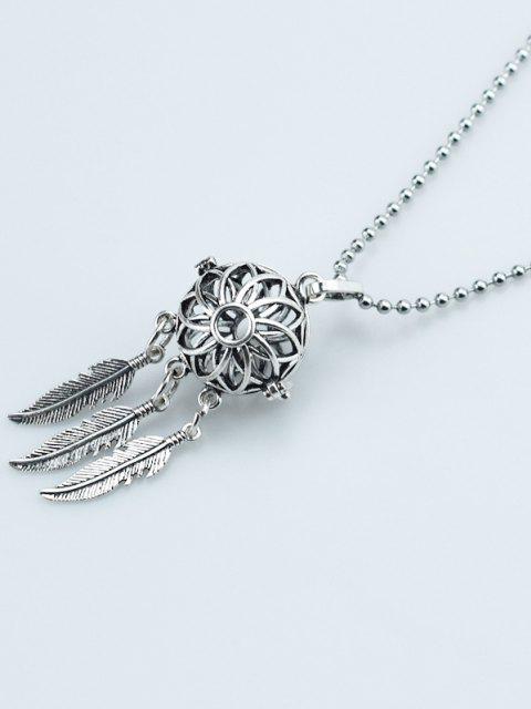 Aushöhlen Blumen Feder Medaillon Halskette - Silber  Mobile
