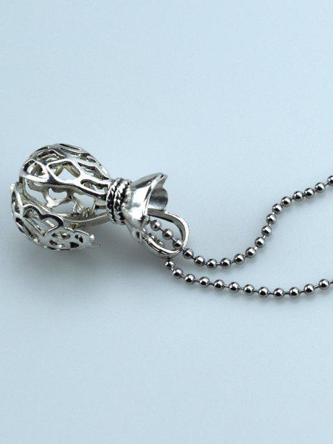Hohlgeldbeutel Form Medaillon Halskette - Silber  Mobile
