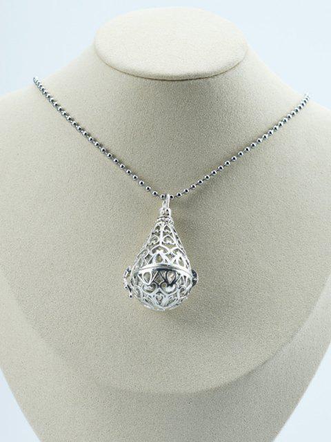Aushöhlende Wassertropfen Medaillon Halskette - Silber  Mobile