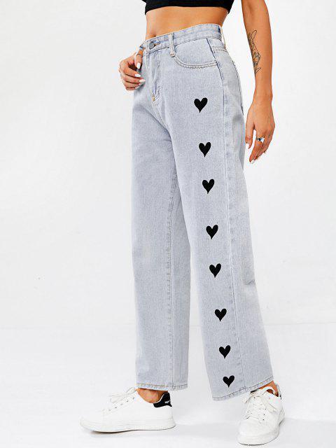 Herz Grafik Baggy Jeans - Hellblau M Mobile