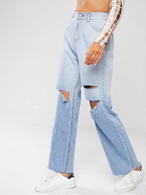 Baggy Zerrissene Freund Jeans - Hellblau L Mobile