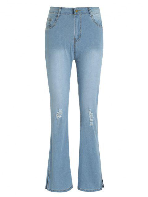 Zerrissene Betrübte Split Hem Flare Jeans - Helles Blau L Mobile
