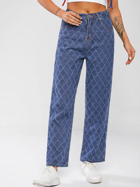 Ausgefranste Strukturierter Jeans mit Weitem Bein und Hoher Taille - Blau L Mobile