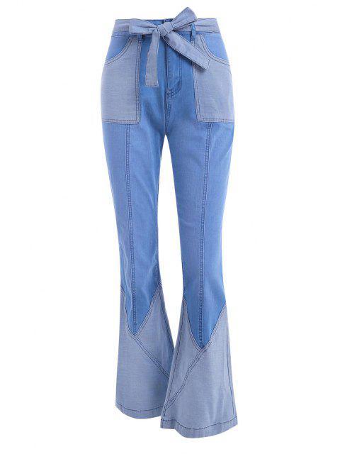 Gürtel Patchwork Flare Jeans - Hellblau M Mobile