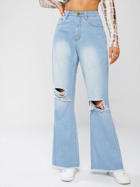 Betrübte Roh Hem Flare Jeans - Hellblau M Mobile