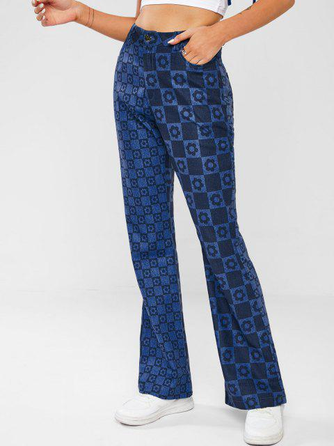 Schachbrett-Blumen-Druckkupplungs-Jeans - Tiefes Blau L Mobile