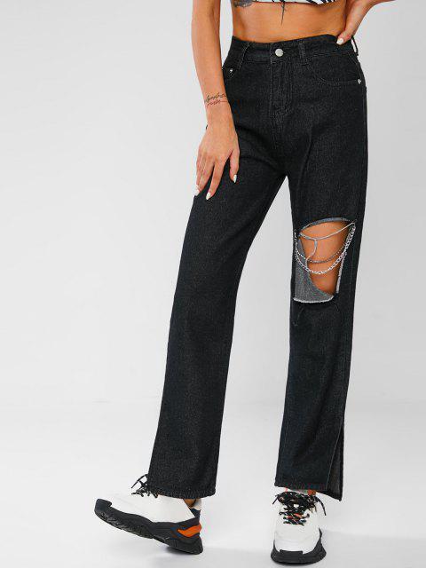 Knie Zerrissene Kette Verschönerte Schlitz Saum Jeans - Schwarz M Mobile
