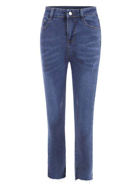 Dünne Jeans mit Ausgefranstem Saum - Tiefes Blau L Mobile