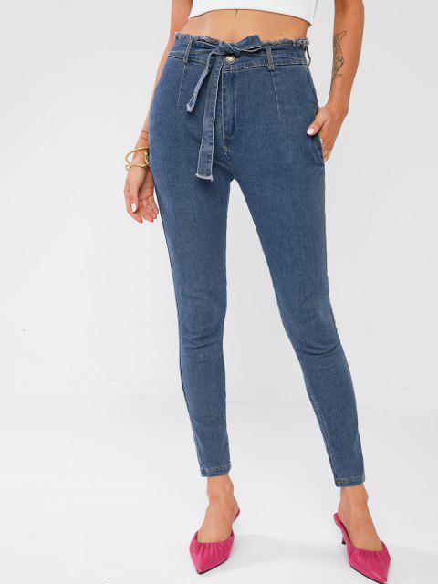 Ausgefranste Gebundene Dünne Jeans mit Hoher Taille - Blau S Mobile