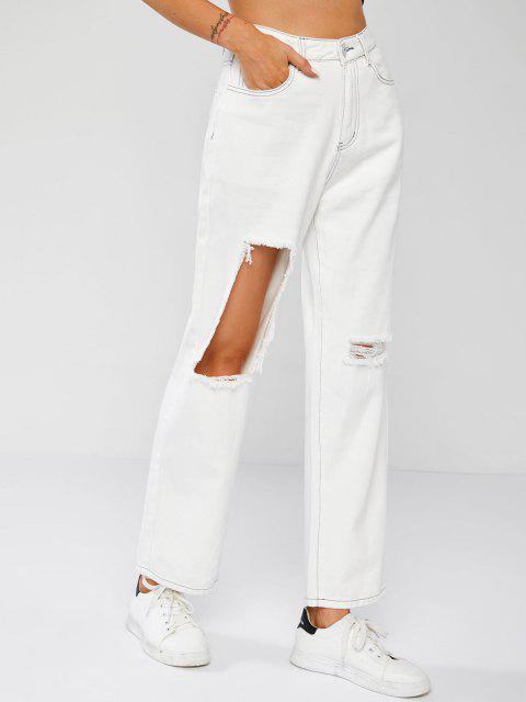 Exponierte Naht-Ripping-Jeans - Weiß XL Mobile