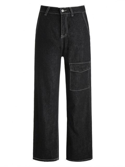 Cargo Jeans mit Weitem Bein und Hoher Taille - Schwarz L Mobile