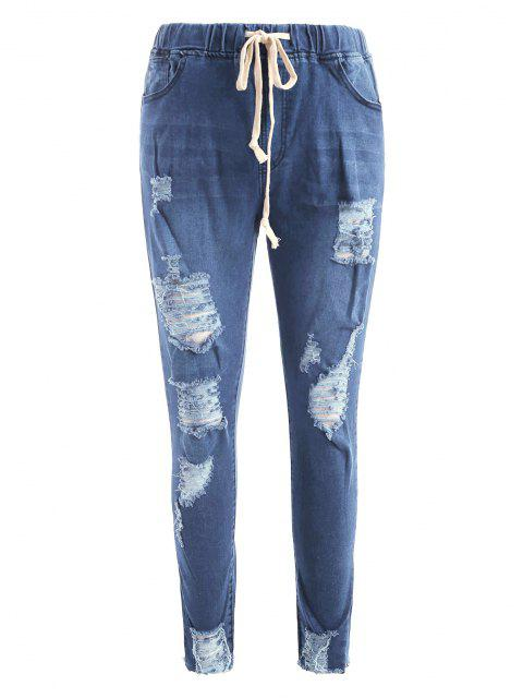 Tunnelzug Riss Ausgefranste Hem Dünne Jeans - Tiefes Blau S Mobile