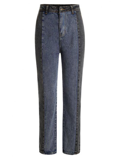 Bicolor Trapeze Jeans - Tiefes Blau S Mobile