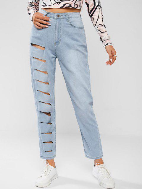 Leichte Wäsche Zerrissene Tapere Jeans - Helles Blau L Mobile