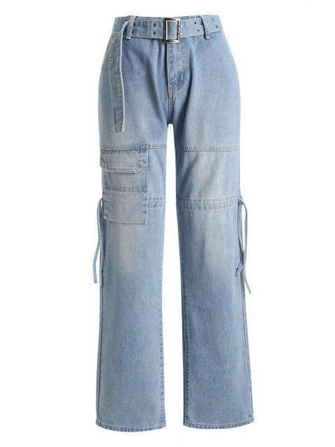 Tunnelzug Tasche Gurt Gerade Jeans - Blau S Mobile