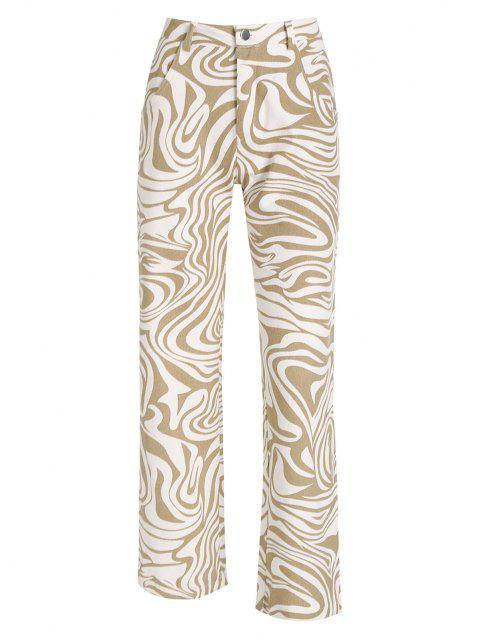 Gerade Jeans mit Psychedelisches Druck und Hoher Taille - Licht Kaffee M Mobile