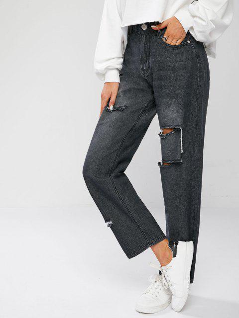 Zerrissene Boyfriend Jeans mit Hoher Taille - Schwarz XL Mobile