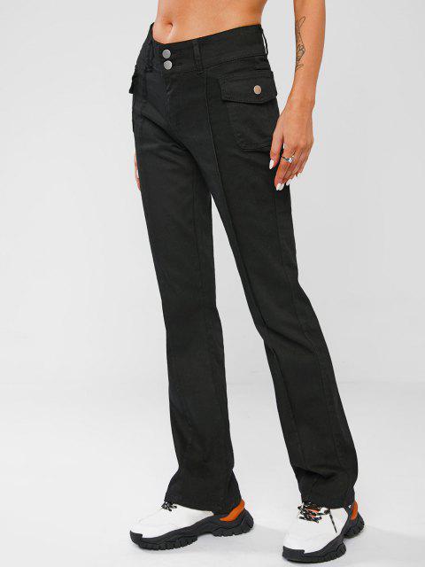 Riss Stiefel Ausschnitt Jeans mit Hoher Taille und Naht - Schwarz S Mobile
