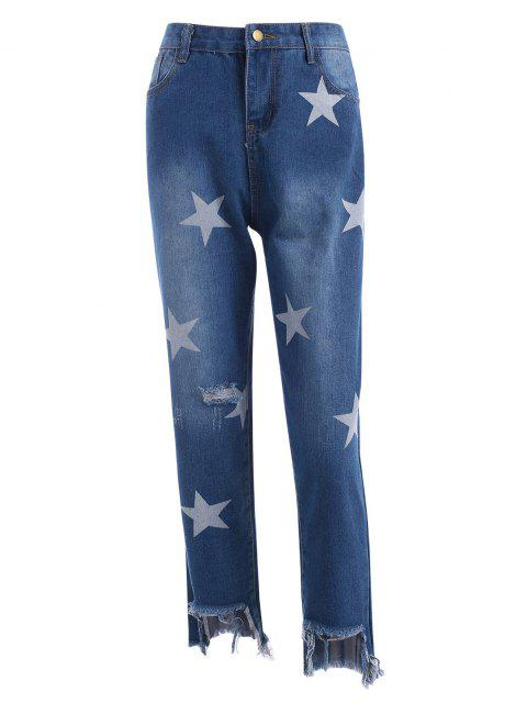 Sterndruck Riss Reißverschluss Am Meisten Kopfzähne U Ausschnitt Akzentuiert das Trendige Leopardenmuster Jeans - Hellblau S Mobile