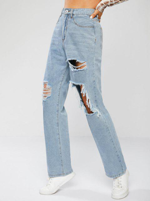 Ripping Light Wash Freund Jeans - Hellblau M Mobile