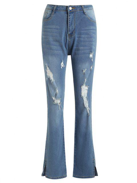 Beunruhigte Dünne Jeans mit Split Saum - Blau S Mobile