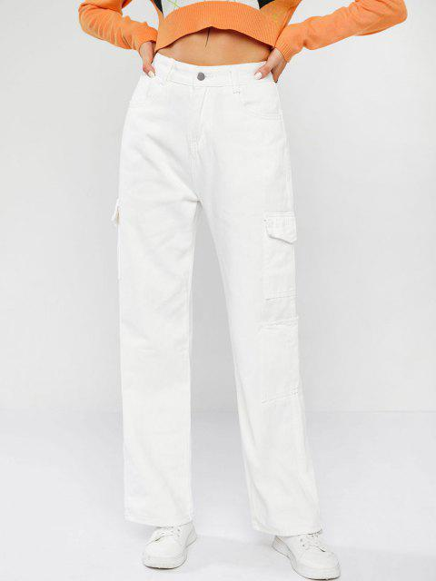 Cargo Jeans mit Hoher Taille - Weiß S Mobile