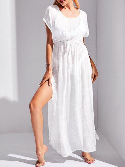 Tie Waist High Slit Beach Cover Up Dress - White