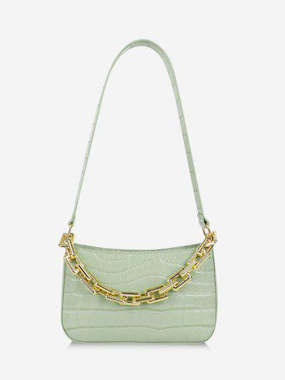 Minimalistic Chunky Chain Embossed Shoulder Bag - Light Green