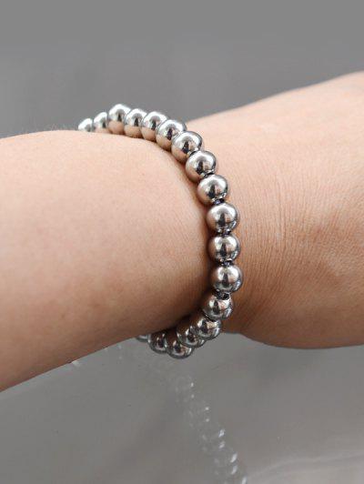 Perlen Edelstahl Elastisches Armband - Silber