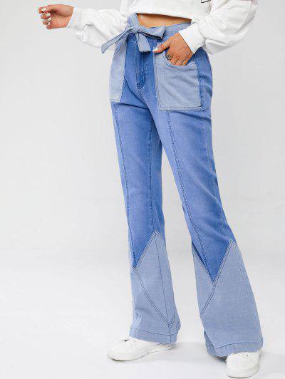 Belted Patchwork Flare Jeans - Light Blue M