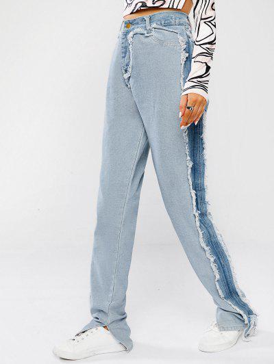 Ausgefranste Reverse Patchwork Gespleißte Jeans Mit Geteilten Ärmeln - Helles Blau Xl