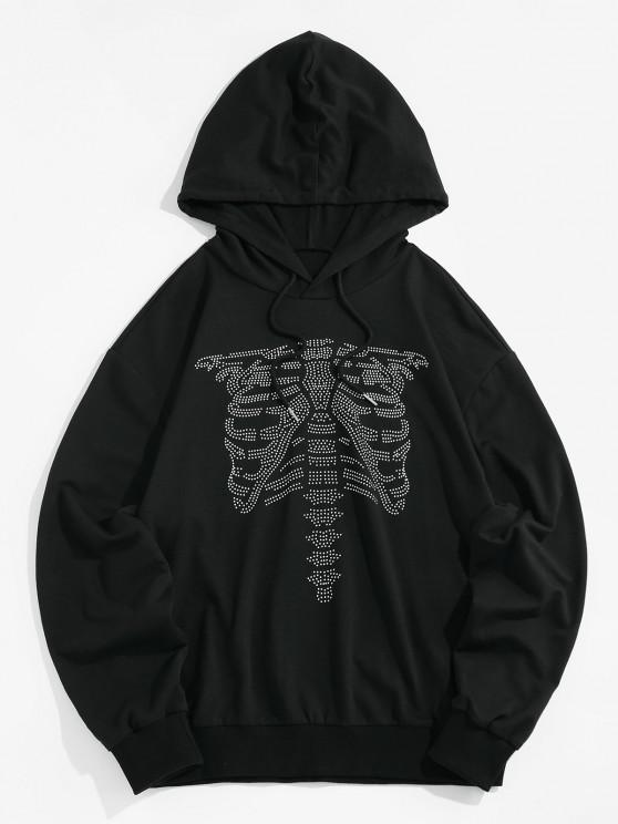 best ZAFUL Abstract Skeleton Graphic Slouchy Drawstring Hoodie - BLACK M