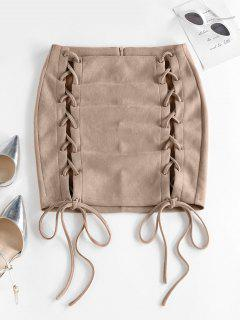 ZAFUL Lace Up Front Solid Slinky Mini Skirt - Light Yellow S