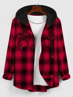 ZAFUL Hooded Plaid Print Double Pockets Shirt - Deep Red L