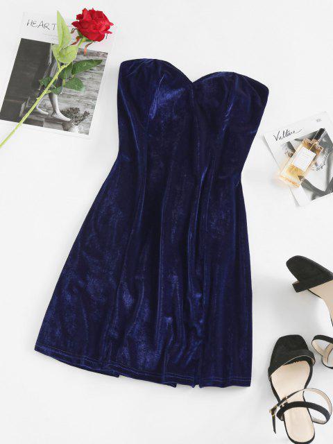Samt Schlitz Schnürung Bandeau Kleid - Tiefes Blau XL Mobile